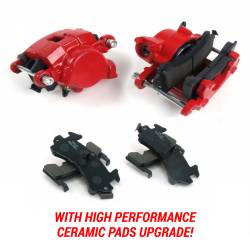 Red GM Single Piston Calipers w/Ceramic Pads- Pair G Body 78-88 - Part Number: HEX7AD28
