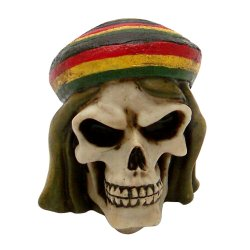 Rasta Man Skull Custom Shift Knob  - Part Number: ASCSN06011