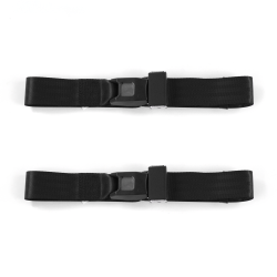 Ford 1928 - 1931 Model A  Standard 2pt Black Lap Bucket Seat Belt Kit - 2 Belts - Part Number: STBA2B85D