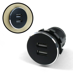 Black Dash Mount Dual Port USB Charger - Replaces Cigarette Lighter - Part Number: KICUSB02