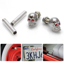 Chrome Skull with Red Eyes 2 Valve Cap, Door Plunger, Plate Bolt Combo Kit  - Part Number: VPAVK3SCH