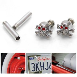 Chrome Skull n Cross Bones with Red Eyes 2 Valve Cap, Door Plunger, Plate Bolt Combo Kit  - Part Number: VPAVK4SCH