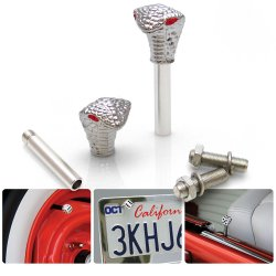 Chrome Cobra with Red Eyes 2 Valve Cap, Door Plunger, Plate Bolt Combo Kit  - Part Number: VPAVK5SCH