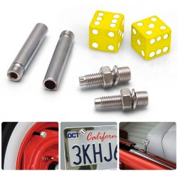 Yellow Dice 2 Valve Cap, Door Plunger, Plate Bolt Combo Kit  - Part Number: VPAVK2SYL