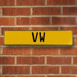 Vw Automotive Vw Yellow Stamped Aluminum Street Sign Mancave Wall Art - Part Number: VPAY36BAE
