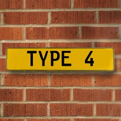 Type 4 Automotive Vw Yellow Stamped Aluminum Street Sign Mancave Wall Art - Part Number: VPAY36BBA