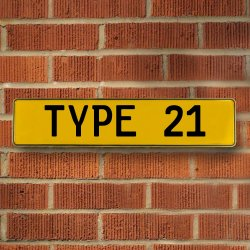Type 21 Automotive Vw Yellow Stamped Aluminum Street Sign Mancave Wall Art - Part Number: VPAY36BBB