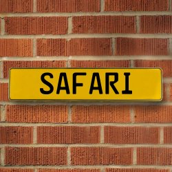 SAFARI - Yellow Reflective Stamped Aluminum Street Sign Bar Mancave European Euro License Plate Name Door Sign Wall Art Audi Porsche Mercedes Volvo BMW Volkswagen German British Duetsch Australian - Part Number: VPAY36BDF