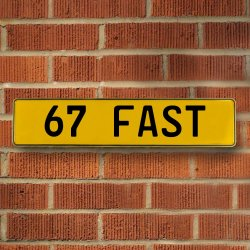 67 Fast Automotive Vw Yellow Stamped Aluminum Street Sign Mancave Wall Art - Part Number: VPAY36C38