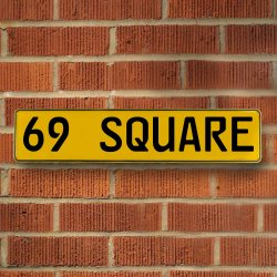 69 Square Automotive Vw Yellow Stamped Aluminum Street Sign Mancave Wall Art - Part Number: VPAY36C47