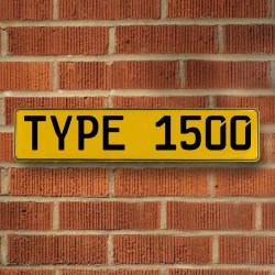 Type 1500 Automotive Vw Yellow Stamped Aluminum Street Sign Mancave Wall Art - Part Number: VPAY36C59