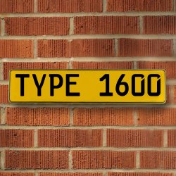 Type 1600 Automotive Vw Yellow Stamped Aluminum Street Sign Mancave Wall Art - Part Number: VPAY36C5A