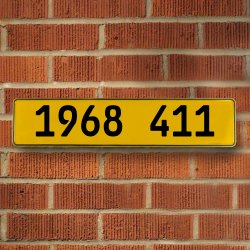 1968 411 Automotive Vw Yellow Stamped Aluminum Street Sign Mancave Wall Art - Part Number: VPAY36C5C