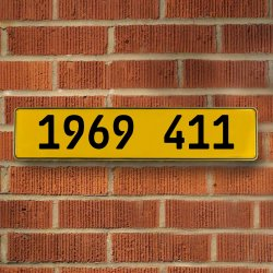 1969 411 Automotive Vw Yellow Stamped Aluminum Street Sign Mancave Wall Art - Part Number: VPAY36C5D