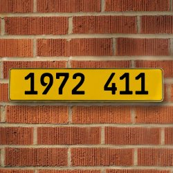 1972 411 Automotive Vw Yellow Stamped Aluminum Street Sign Mancave Wall Art - Part Number: VPAY36C60
