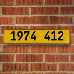 1974 412 Automotive Vw Yellow Stamped Aluminum Street Sign Mancave Wall Art - Part Number: VPAY36C63