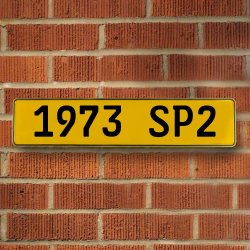 1973 SP2 - Yellow Reflective Stamped Aluminum Street Sign Bar Mancave European Euro License Plate Name Door Sign Wall Art Audi Porsche Mercedes Volvo BMW Volkswagen German British Duetsch Australian - Part Number: VPAY36C65