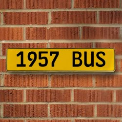 1957 Bus Automotive Vw Yellow Stamped Aluminum Street Sign Mancave Wall Art - Part Number: VPAY36C78