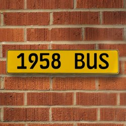 1958 Bus Automotive Vw Yellow Stamped Aluminum Street Sign Mancave Wall Art - Part Number: VPAY36C79