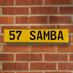 57 Samba Automotive Vw Yellow Stamped Aluminum Street Sign Mancave Wall Art - Part Number: VPAY36C9F
