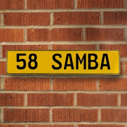 58 Samba Automotive Vw Yellow Stamped Aluminum Street Sign Mancave Wall Art - Part Number: VPAY36CA0
