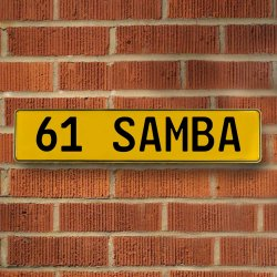 61 Samba Automotive Vw Yellow Stamped Aluminum Street Sign Mancave Wall Art - Part Number: VPAY36CA3