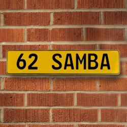 62 Samba Automotive Vw Yellow Stamped Aluminum Street Sign Mancave Wall Art - Part Number: VPAY36CA4