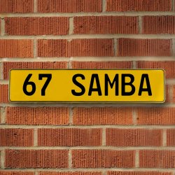 67 Samba Automotive Vw Yellow Stamped Aluminum Street Sign Mancave Wall Art - Part Number: VPAY36CA9