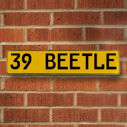39 Beetle Automotive Vw Yellow Stamped Aluminum Street Sign Mancave Wall Art - Part Number: VPAY36CAB
