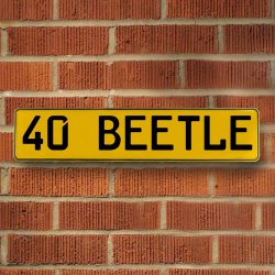 40 Beetle Automotive Vw Yellow Stamped Aluminum Street Sign Mancave Wall Art - Part Number: VPAY36CAC
