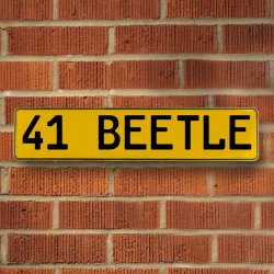 41 Beetle Automotive Vw Yellow Stamped Aluminum Street Sign Mancave Wall Art - Part Number: VPAY36CAD