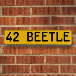 42 Beetle Automotive Vw Yellow Stamped Aluminum Street Sign Mancave Wall Art - Part Number: VPAY36CAE