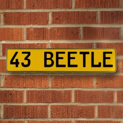 43 Beetle Automotive Vw Yellow Stamped Aluminum Street Sign Mancave Wall Art - Part Number: VPAY36CAF