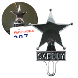 Safety Star Chromed License Plate Topper - Part Number: VPALPT007