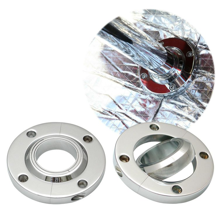 "Dress Up 2/"" Polished Aluminum Swivel Base Steering Column Floor Mount Kit NEW"
