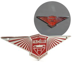 Volkswagen Hebmuller VW Body Badge Emblem Plate - Red  - Part Number: VPAE10
