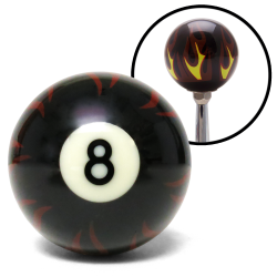 Black Flame 8 Ball Custom Shift Knob Opaque - Part Number: ASCSN11003