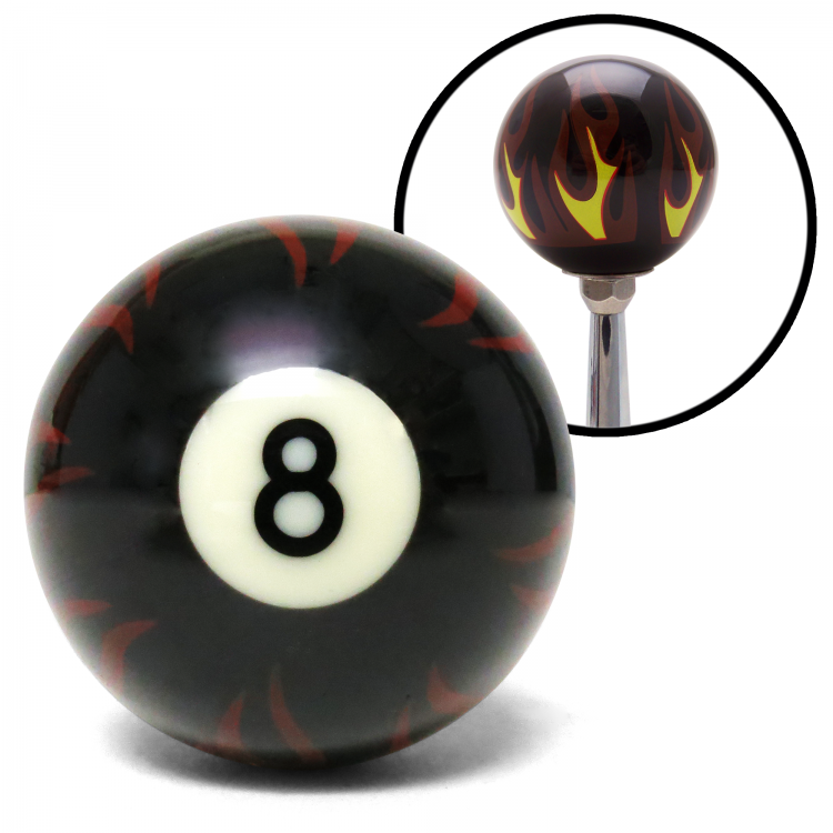 Black Flame 8 Ball Custom Shift Knob Opaque
