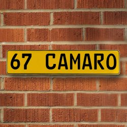 67 CAMARO - Yellow Aluminum Street Sign Mancave Euro Plate Name Door Sign Wall - Part Number: VPAY3705E