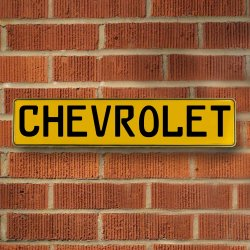 CHEVROLET - Yellow Aluminum Street Sign Mancave Euro Plate Name Door Sign Wall - Part Number: VPAY3711B