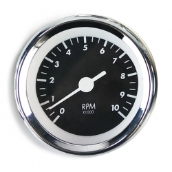 Tachometer Gauge - SAE Classic Black, White Vintage Needle, Chrome Trim Ring - Part Number: AURTAC01