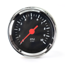 Tachometer Gauge - SAE Classic Black, Orange Vintage Needle, Chrome Trim Ring - Part Number: AURTAC02