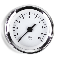 Tachometer Gauge - SAE Classic White, Black Vintage Needle, Chrome Trim Ring - Part Number: AURTAC03