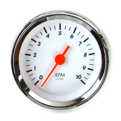 Tachometer Gauge - SAE Classic White, Orange Vintage Needle, Chrome Trim Ring - Part Number: AURTAC04