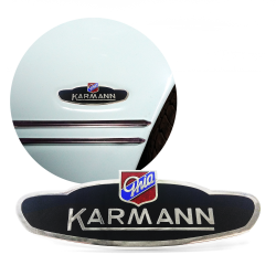 Volkswagen VW Karmann Ghia Side Body Badge Emblem fits 1956 - 1974  Coupes  Convertibles Lowlights has chrome trim and OEM enamel paint 2 pins on back  for European and US Versions 141-853-901 A - Part Number: VPAE12