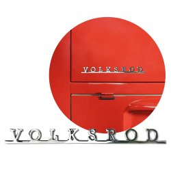 VW Volksrod Script Emblem Badge for Volkswagen Bug Bus Ghia Thing T2 T3 T4 - Part Number: VPAE15