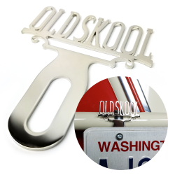 Classic Old Skool Chromed License Plate Topper - Part Number: VPALPT025