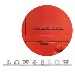 VW Low & Slow Script Emblem Badge for Volkswagen Bug Beetle Bus Karmann Ghia Thing Single Cab Type 1 Type 2 Type 3 Type 4 Oval Split Zwitter Lowlight Ghia - Part Number: VPAE19