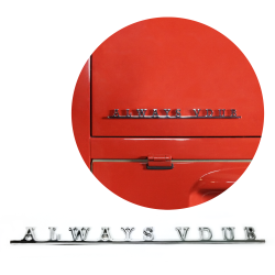 VW Always Vdub Script Emblem Badge for Volkswagen Bug Beetle Bus Ghia Thing T3 - Part Number: VPAE22