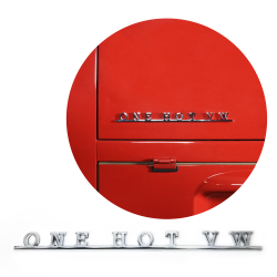 VW One Hot VW Script Emblem Badge for Volkswagen Bug Beetle Bus Ghia Thing T3 T4 - Part Number: VPAE32